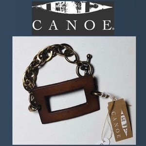 Canoe Leather with antique finish chain bracelet